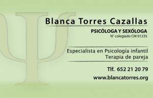 Tarjeta de visita psicóloga Blanca Torres: psicología general, infantil, sexología y terapia de parejas